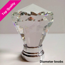 Top quality transparent k9 crystal win cabinet wardrobe door handle knob glass diameter silver dresser drawer knob pull 40mm