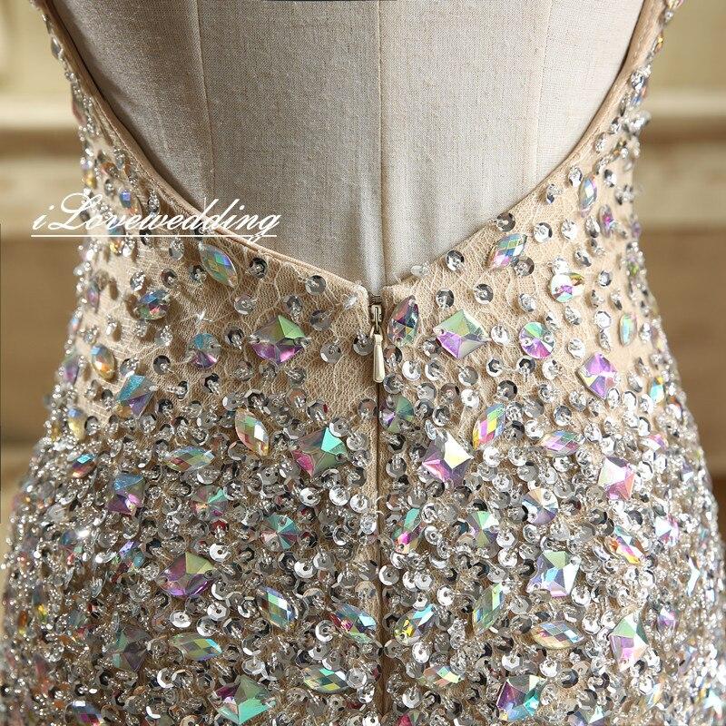 Glänsande Champagne Sjöjungfrun Sida Split Prom Klänningar Med - Särskilda tillfällen klänningar - Foto 6