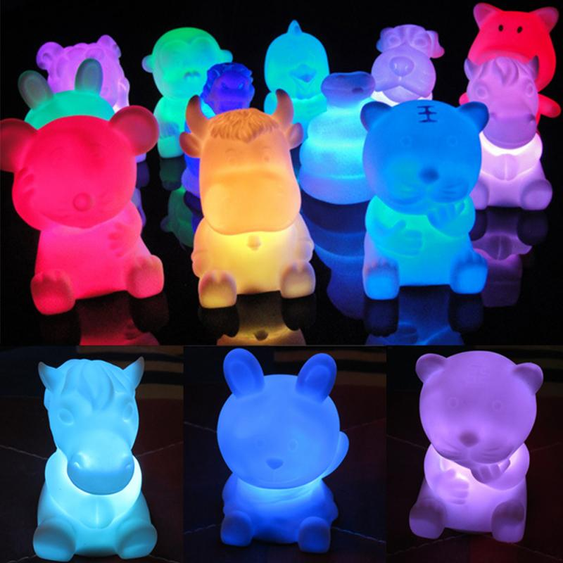 Lovely 12 Zodiac Animal Shaped Children Light Up Toys Novelty LED 7 Color Changing Night Lamp Kids Birthday Gifts Wholesale