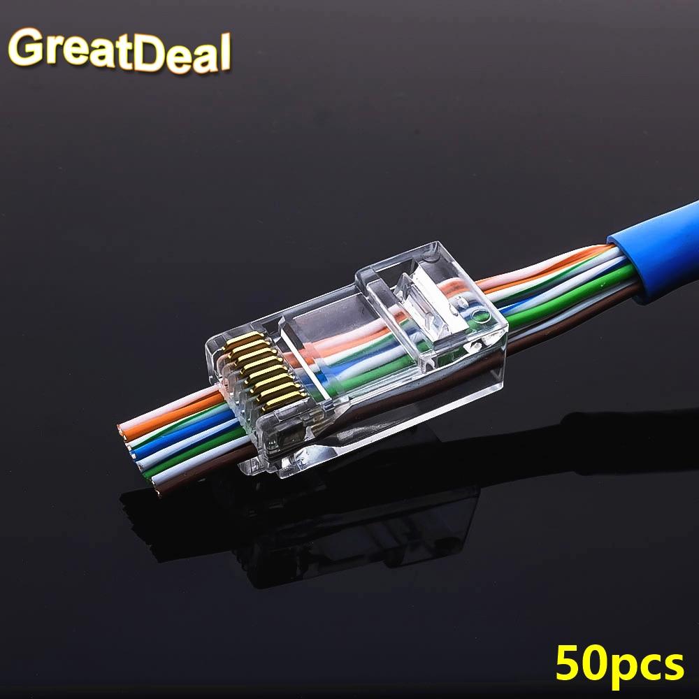 50pcs EZ rj45 connector cat5e cat6 connector network unshielded 8Pin modular utp rj45 plugs have hole HY1525 nastako 50 100pcs ez rj45 cat6 connector cat5e cat6 network connectors 8pin shielded modular plug rj45 jack terminals have hole