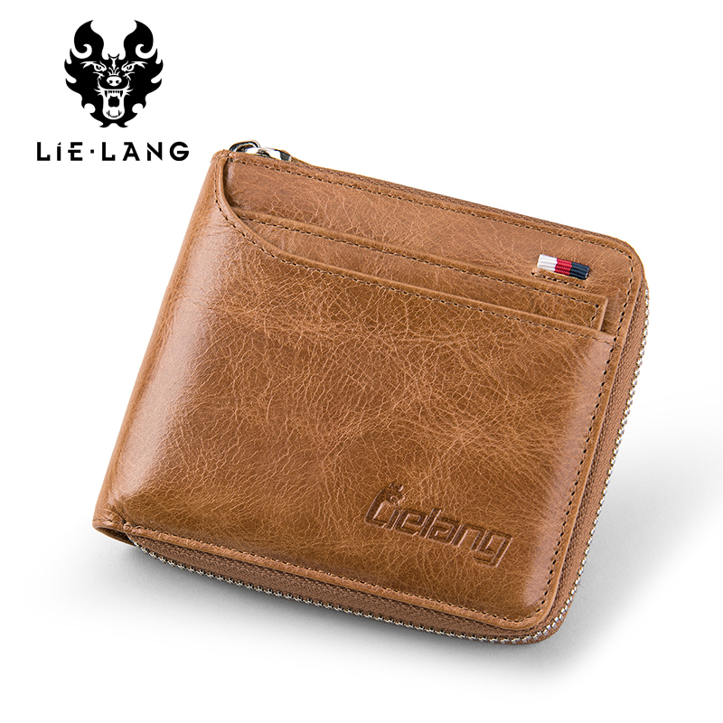 LIELANG Men Wallet Genuine Leather Men short Vintage Purse Small Wallets Men Card ID Holder Coin Pocket Cow Leather Male Purse dalfr genuine leather mens wallets card holder male short wallet 6 inch cowhide vintage style coin purse small wallet