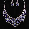 Fashion Jewellery Austrian Crystal Wedding Bridal  Long Tassel Statement Necklace/Earrings Set for Women Jewelry Sets