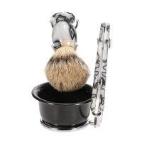 4 in 1 Men's Shaving Razor Set Pure Badger Shaving Brush + Stainless Steel Stand + Soap Bowl + Razor Male Facial Cleaning Tool