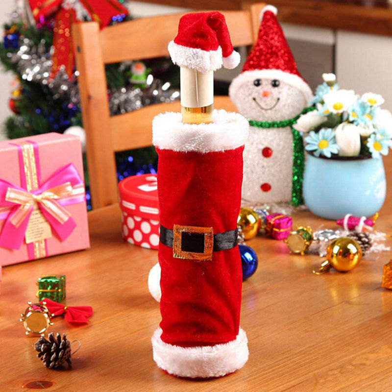 Hot 1Pc Christmas New Fashion Cartoon Santa Claus Clothing Lovely Hat Dress Wine Bottle Cover Party New Year Decoration Gift