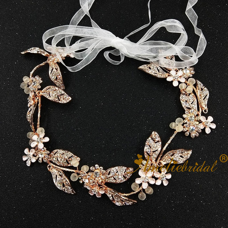 Wedding Bridal Hair Tiaras Headband Leaf With Rhinestone Decoration Women Hair Vine Dancing Headdress Rose Gold