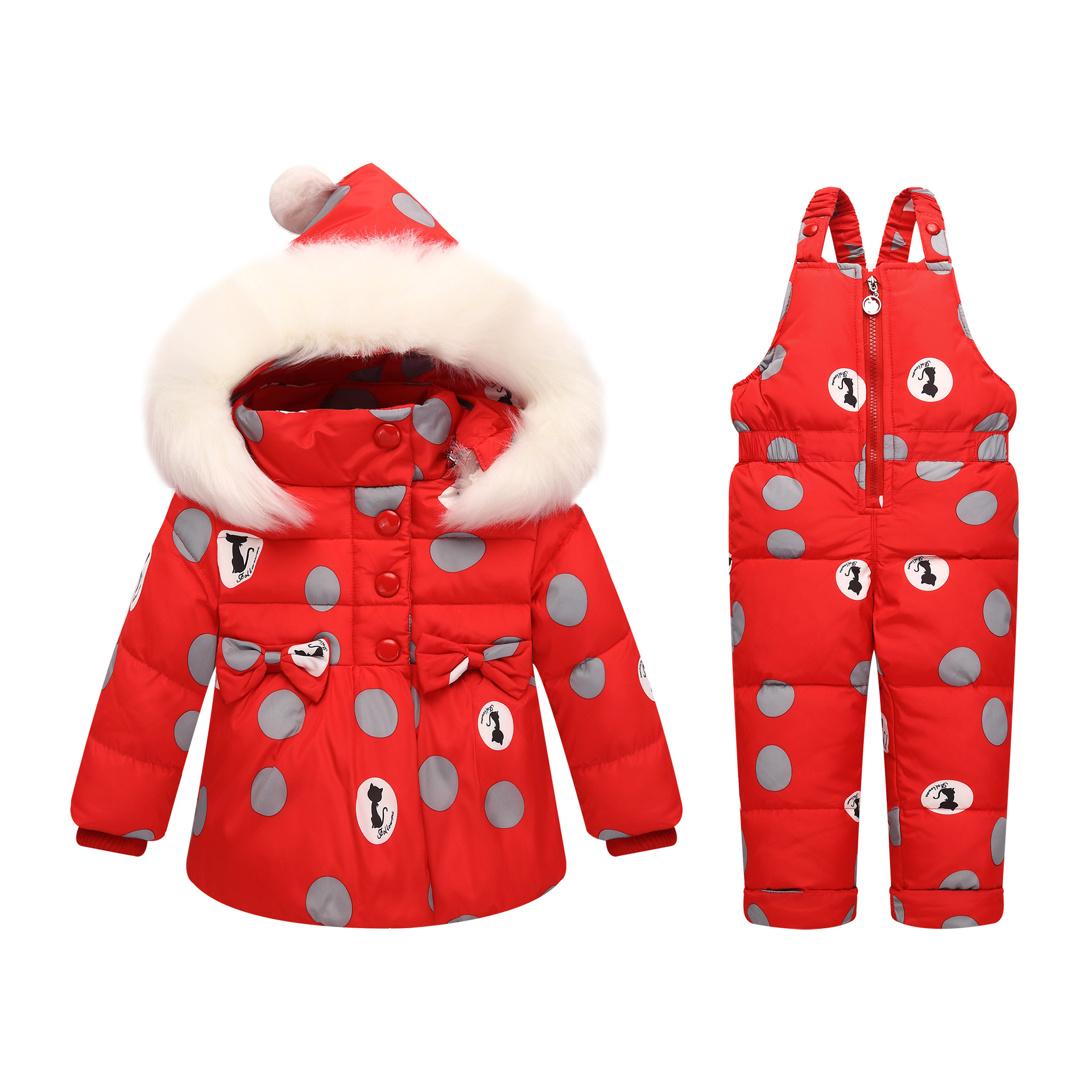 все цены на ZOETOPKID -30 Degree Russia Winter children Girls Clothes set Down Jacket Coat + Jumpsuit For 1-4 Years Kids Baby Girl Snowsuit онлайн