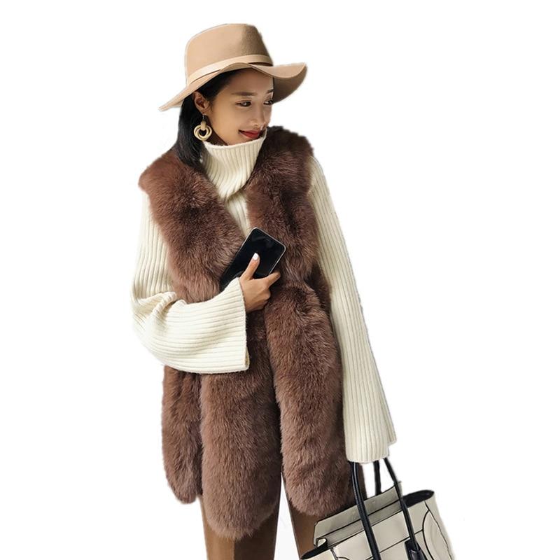 2018 nouveau hiver imitation fourrure de renard gilet longue fourrure gilet femmes de haute qualité mode o-cou long manteau de fourrure Cardigan S-XXXL
