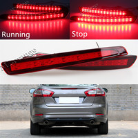 2PCS Waterproof Rear Bumper Reflector Car Light Stop Bright LED Strip Red Tail Lighting For Ford