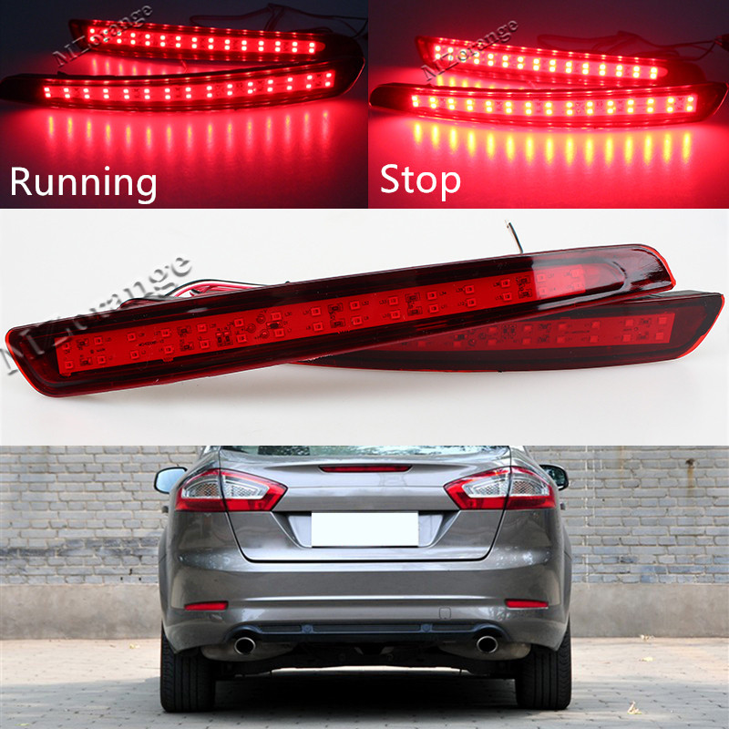 2PCS Waterproof Rear bumper reflector Car Light Stop Bright LED Strip Red Tail Lighting For Ford Mondeo Fusion4 2011 2012 2013