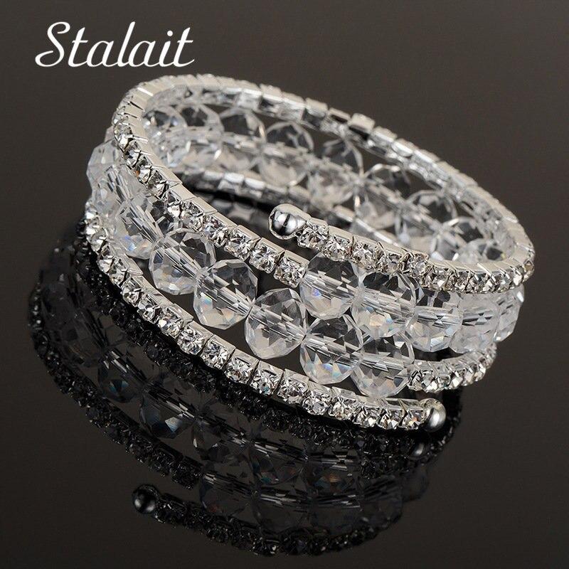 Luxury Multi Layer Crystal Bangle For Women Silver Plated Bracelet Bangle Fashion Full Rhinestone Jewelry For Women