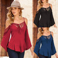 Fashion Women Long Sleeve Shirt Casual Lace Blouse Loose Cotton Tops  Shirt Black red sexy Blause