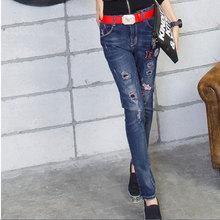 Джинсы брюки женские новая весна 2016 мода цвет вышивки отверстие джинсовой карандаш брюки ноги