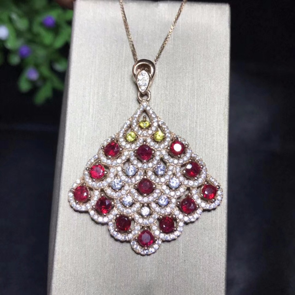 Uloveido Natural Ruby Wedding Pendant Women 925 Sterling Silver Red Gemstone Anniversary Necklace Pendant for Women