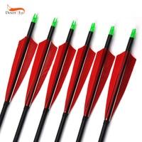 85 cm Columna Vertebral Flechas De Carbono 500 con Rojo de Plumas y Puntas Reemplazables para Recurvo Arco Compuesto de Caza de Tiro con arco de 6/12/24 unids