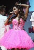 Ariana Grande Hot Pink Short Prom Dresses 2015 Sweetheart Neckline Robe De Soiree Crystal Beaded Organza