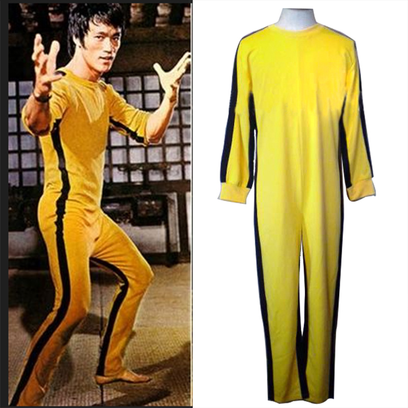Eraspooky Jeet Kune Do Game Of Death Bruce Lee Cosplay Yellow Jumpsuit Kung Fu Uniforms Halloween Costume Adult Kids Nunchakus