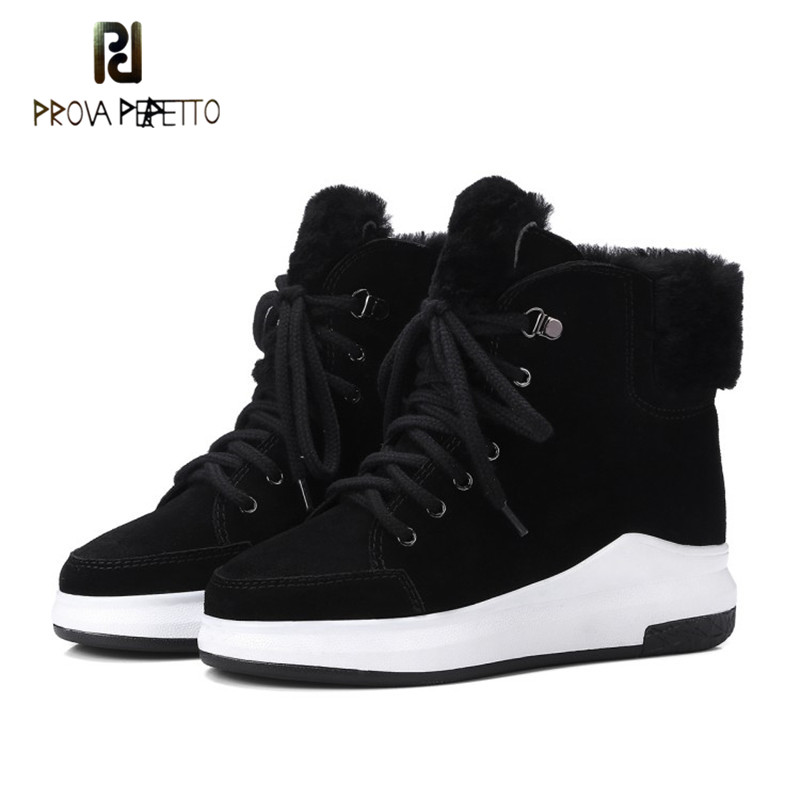 цена Prova Perfetto Winter Warm Real Cow Suede Wool Fur Comfort Wedges Snow Boots Square Toe Lace-up Solid Casual Woman Ankle Boots