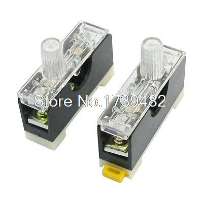 2 Pcs FS-10 DIN Rail Mount Single Pole 6x30mm Fuse Holder AC 250V 10A 20 pcs ry series metal 192 celsius 250v 10a cutoffs thermal fuse