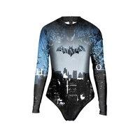 Neue 004 Sexy Mädchen Sommer The Dark Knight Batman Drucke Zip Langarm Badeanzug Monokini Bademode Badeanzug anzug