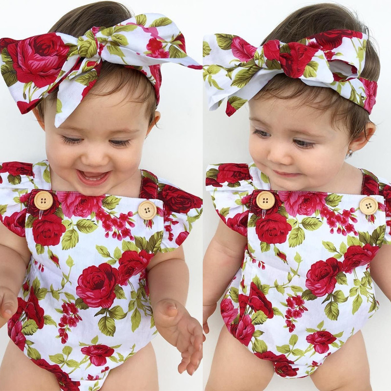 Toddler Infant Point Kid Baby Girls Dots Romper+Headband Clothes Outfit 2PCS Set