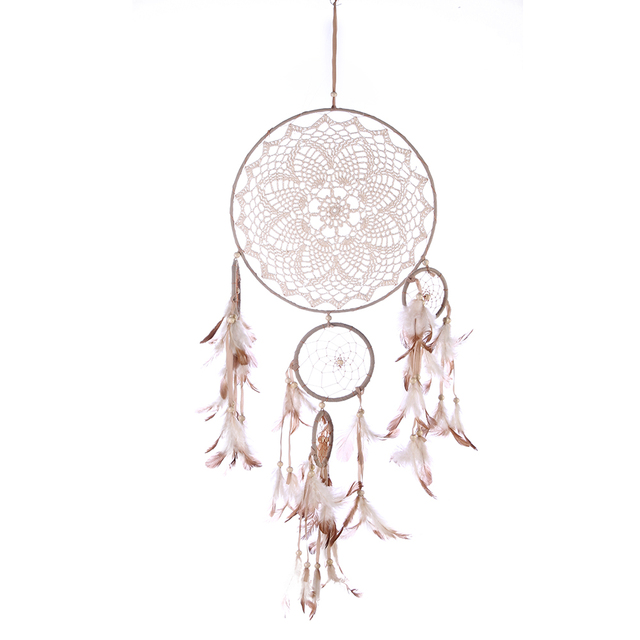 Five-rings Feather Flowers Dream Catcher Wind Chimes Wall Hanging Feather Pendant Dreamcatcher Home Car Decor Indian Style