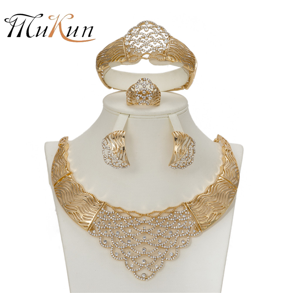 MUKUN African Imitated Crystal Jewelry Sets For Women Luxury Wedding Set Statement Choker Necklace Earrings Party Accessories