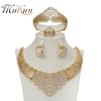 Mukun Африканский подражали Ювелирные комплекты с кристаллами для Для женщин Роскошные свадебные комплект себе колье Цепочки и ожерелья серь...