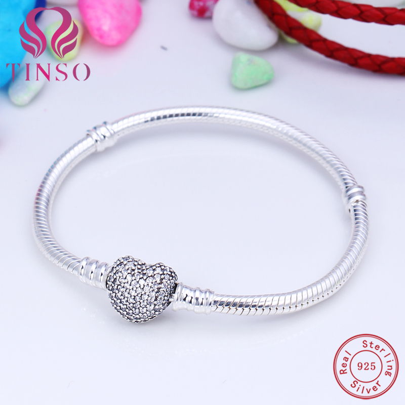 100% 925 Sterling Silver Heart Pave CZ Snake Chain Basic Bracelet with Logo Fit for European Charms Beads DIY Jewelry for Women pandulaso pure 925 sterling silver jewelry findings sparking safety with logo beads fits charms bracelet women diy jewelry