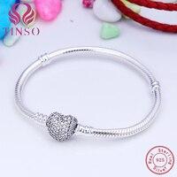 100% 925 Sterling Silver Serce Pave CZ Bransoletka Wąż Łańcuch Podstawowa z Logo Nadające Się do Europejskiego Charms Koraliki DIY Biżuteria dla Kobiet