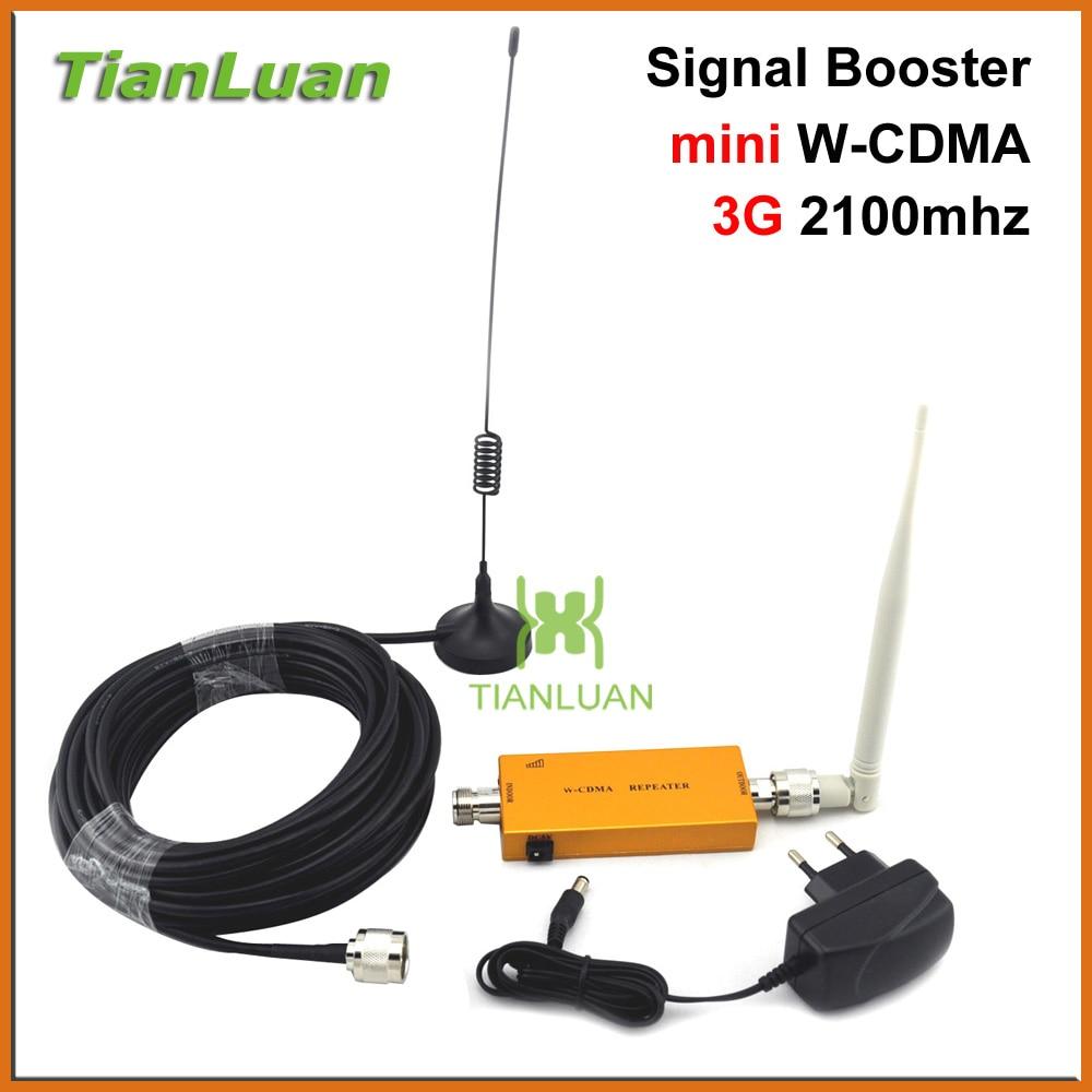 TianLuan mini W-CDMA 2100 MHz 3G repetidor de teléfono móvil 3G de señal de UMTS WCDMA repetidor de señal amplificador con antena