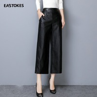 EASTOKES 2018 Autumn Winter Women Leather Pants Faux Leather Ankle length Pants Pencil Pants for Ladies Trousers