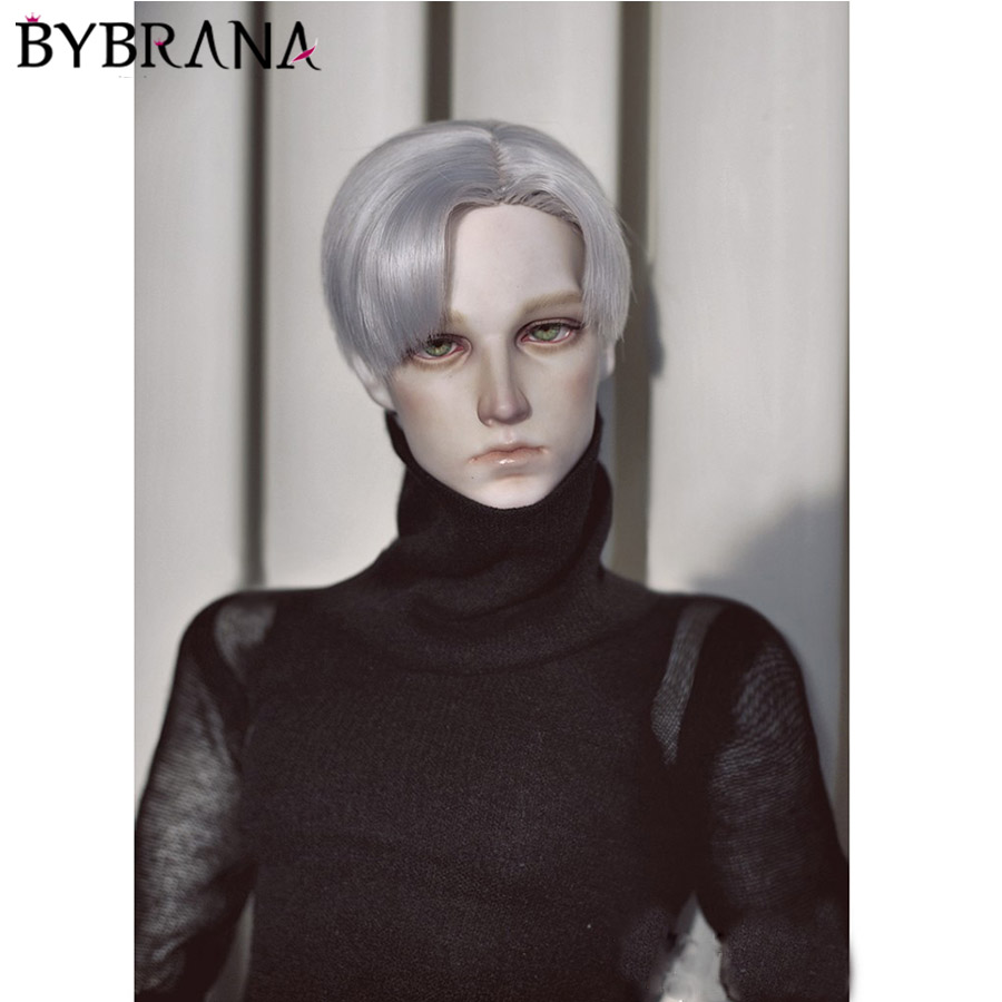 Bybrana Free Shipping 1/3 1/4 Bjd Hair High Temperature Short Silver Grey Straight Bjd Wig MSD SD For BJD Doll