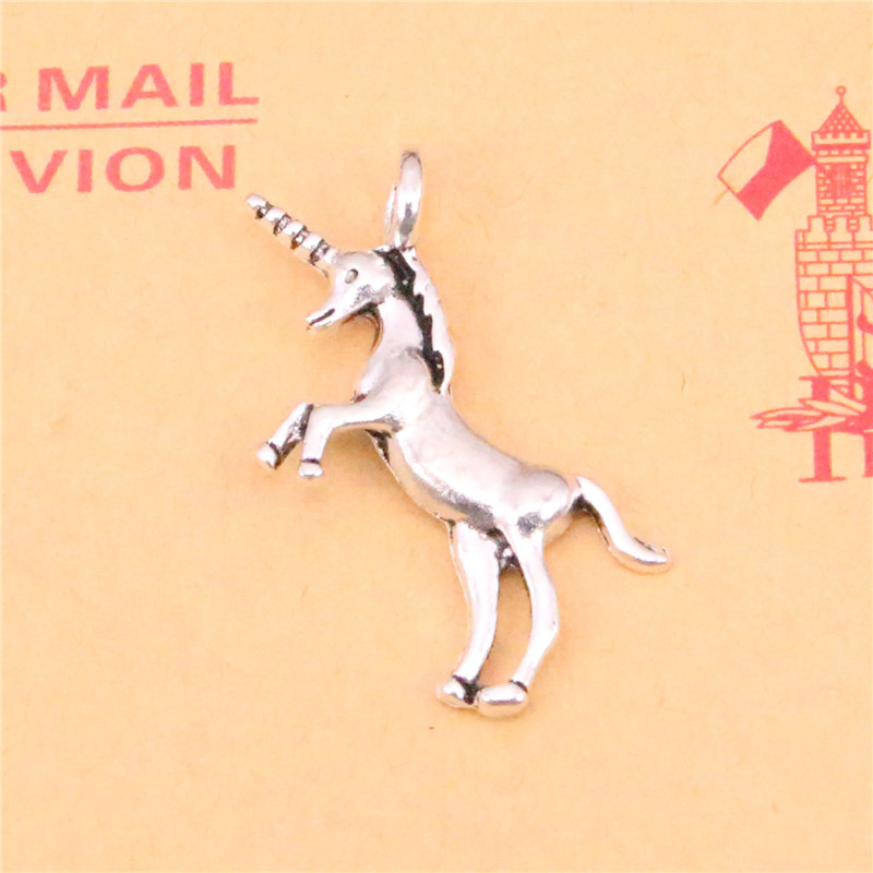 10pcs Tibetan Silver Plated Unicorn Horse Charms Pendants For Necklace Bracelet Jewelry Making Diy Handmade 35*15mm With A Long Standing Reputation