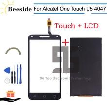 AA + جودة LCD 5.0 ل الكاتيل بلمسة واحدة U5 3 جرام 4047 4047D شاشة الكريستال السائل محول الأرقام بشاشة تعمل بلمس استبدال أسود/أبيض