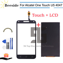 Qualità AA + LCD 5.0 Per Alcatel One Touch U5 3G 4047 4047D Display LCD di Tocco Digitale Dello Schermo sostituzione Nero/Bianco