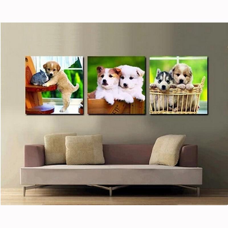 ̀ •́ venta al por mayor diy diamante pinturas lindo perros en cestas