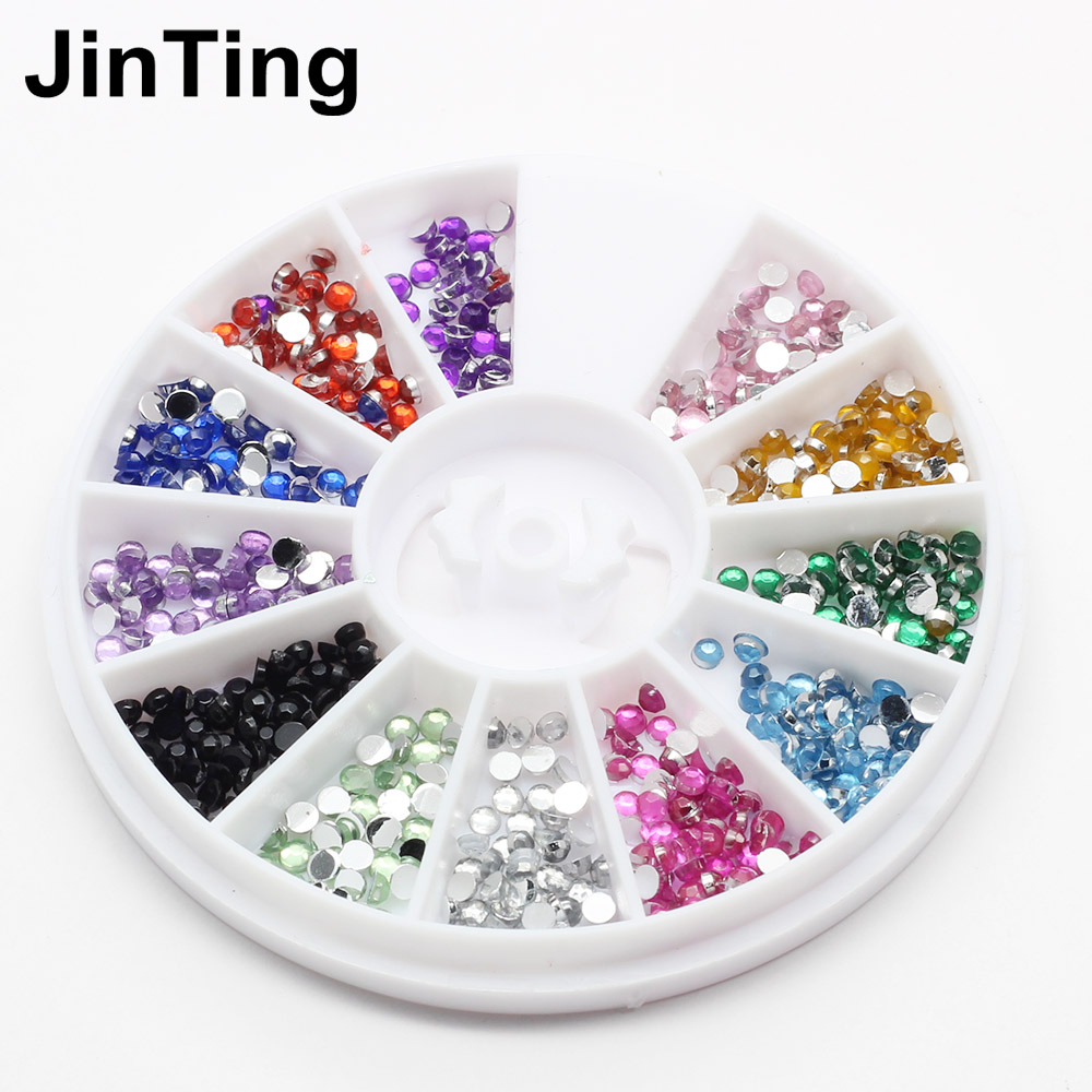 12 colors nail rhinestones 2mm acrylic nail art for Acrylic nail decoration supplies
