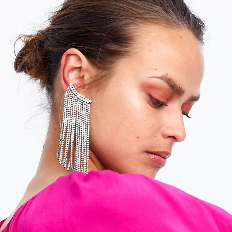 JURAN Luxury Fringed Handmade Crystal Long Tassel Earrings For Women Za Design Maxi Statement Dangle Earrings Fashion Jewelry