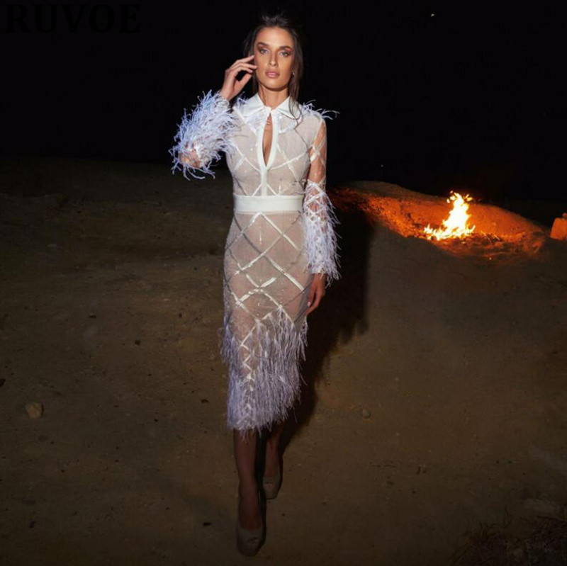 Новая мода, высокое качество, зима 2019, женское белое платье, длинный рукав, перья, круглый ворот, Бандажное платье, вечернее платье - 2