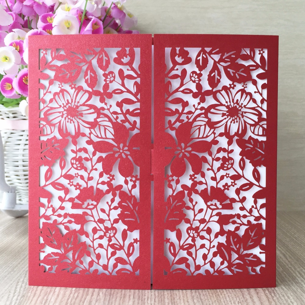 12pcs/lot Wedding invitations door chinese red flowers design 24 ...