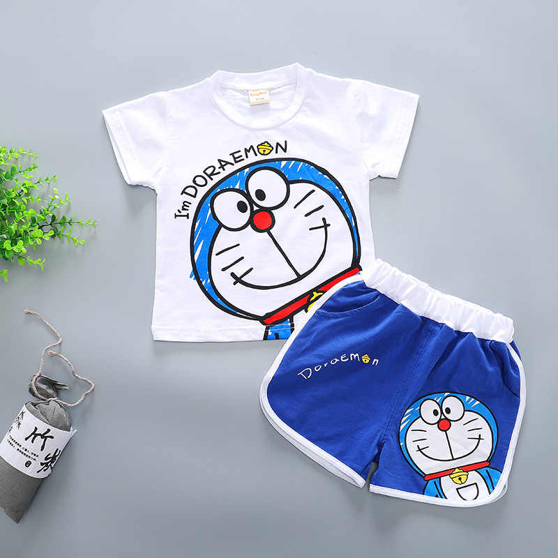 Toddler Girl Clothes Cute Boys Clothes 2019 New Kids Cartoon Doraemon Clothes Girls Cotton Pikachu Patten T-shirt + Shorts 2Pcs