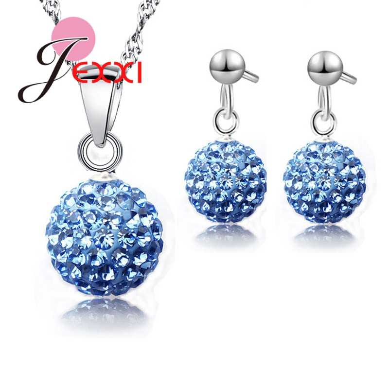 Austrian Pave Disco Ball Stud Genuine 925 Sterling Silver Earring Pendant Necklace Austria Crystal Woman Jewelry Sets
