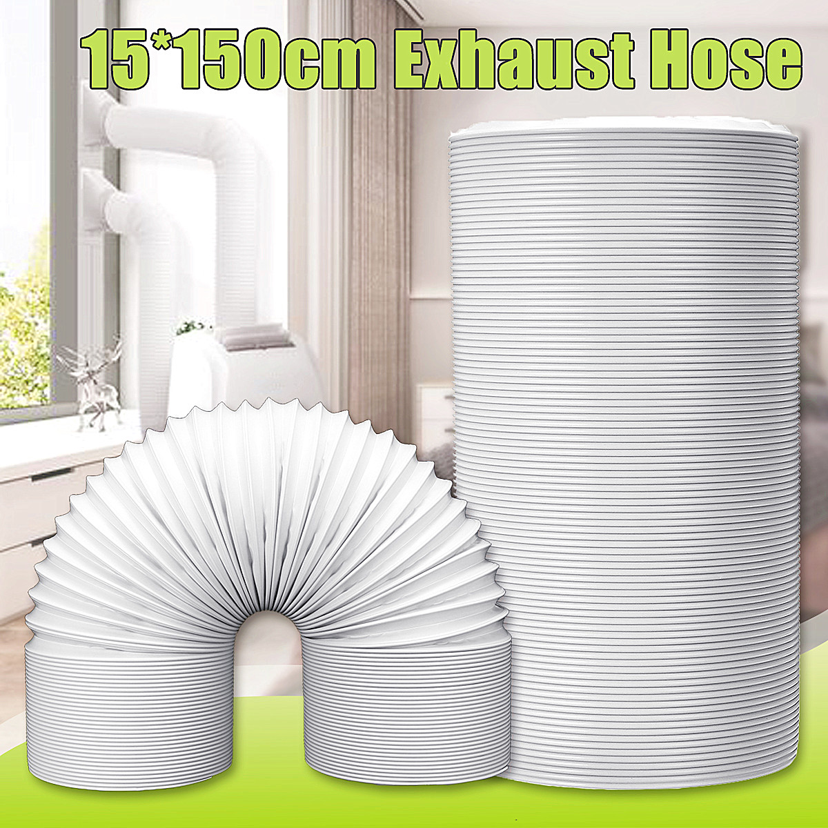 Kanon 1.5M Exhaust Hose Vent Tube Ventilation Pipe Steel Wire Air OX-25