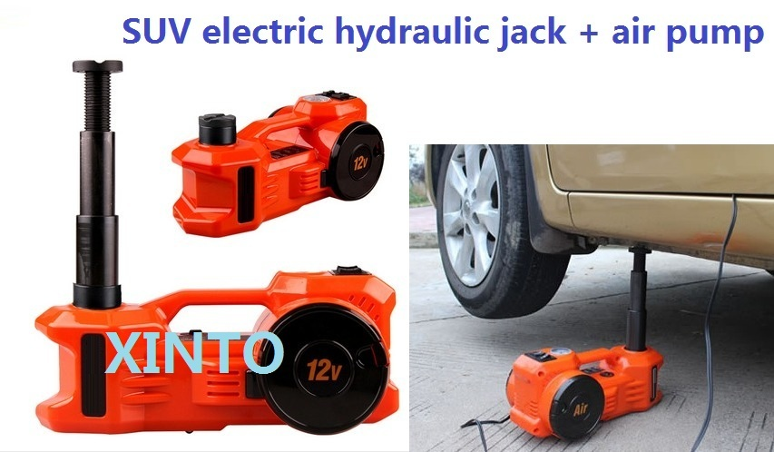 3Ton 12V dual-function horizontal type Electric hydraulic jack with tire pump air pump the max load is 3Ton for SUV use