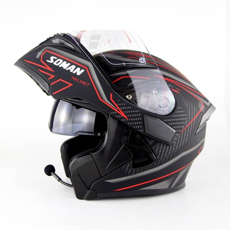 Moto Doppia Lente Caschi Moto Built-In Bluetooth del Casco Flip up Motor bike Capacete Casco Approvazione DOT SOMAN 955 BT