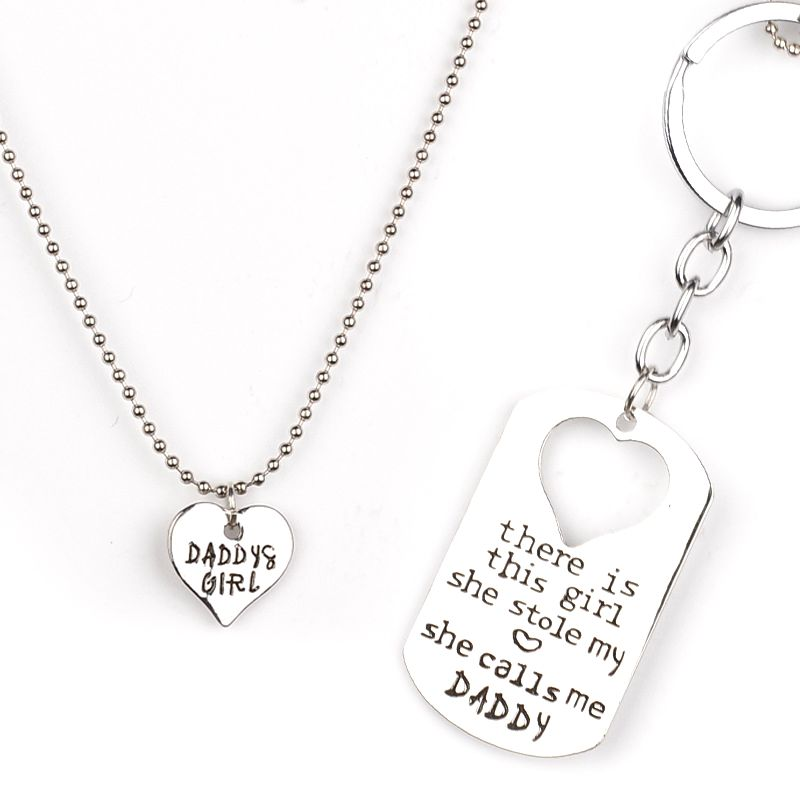 Hot Family Love Heart Necklace Keyring Set there is this girl she stole my heart she calls me Daddy Mommy Letter Pendant Jewelry