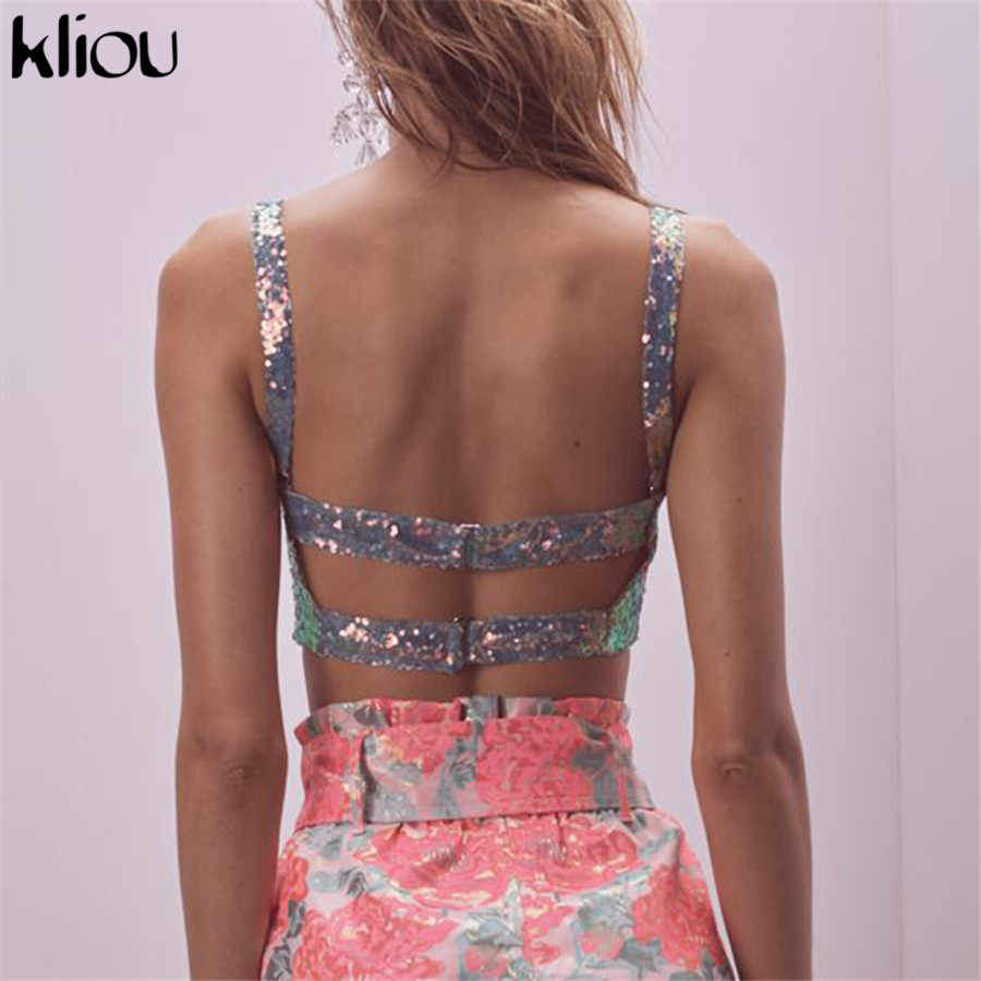 Kliou women strap shining crop top Camis bra with cups 2019 spring female fashion sexy strapless back hollow out tank top tees