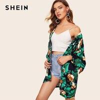 SHEIN Boho Multicolor Leaf And Floral Print Kimono Office Lady Long Sleeve Kimono Women Spring Elegant Streetwear Kimono