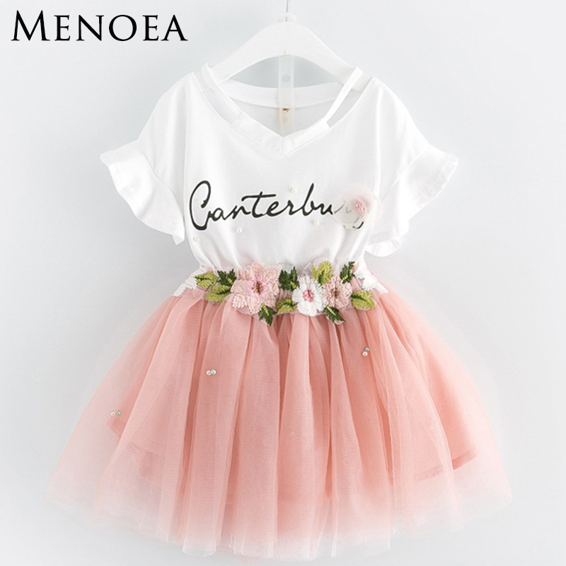 Menoea Summer Girls Clothing Sets 2017 Brand New Fashion Style Kids clothes Sets Cartoon Print Kids Clothes Toddler Girl 3-7Y