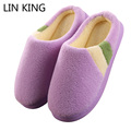 LIN KING Euro Women's Home Slippers Winter House Thermal Cotton-Padded Slippers For Men Indoor Floor Warm Slippers Flats Shoes